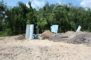 Digging the foundation pillar holes